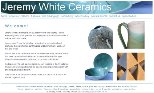Jeremy White ceramics website home page
